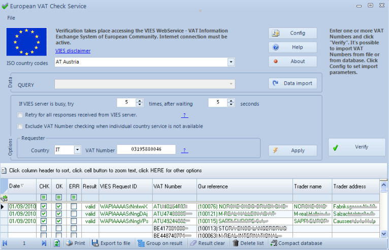 Click to view European VAT Check Service 3.2 screenshot